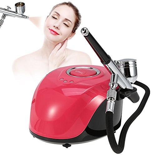 (Beauty Airbrush Makeup System Kit, 3 Level Pressure Adjustable Compressor Cosmetic Spray Gun for Face Moisturizing, Nail art, Temporary Tattoos)