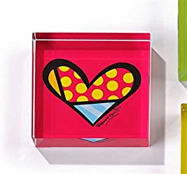 Romero Britto Glass Block Paperweight- Heart Design