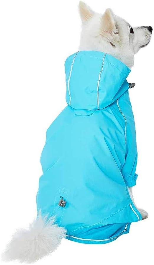 Chubasquero de 64 cm Reflectante y Ligero para Perros con Capucha y Abertura para arn/Ã/©s Azul Essential UMI Impermeable para Exteriores con Cobertura de 2 Patas
