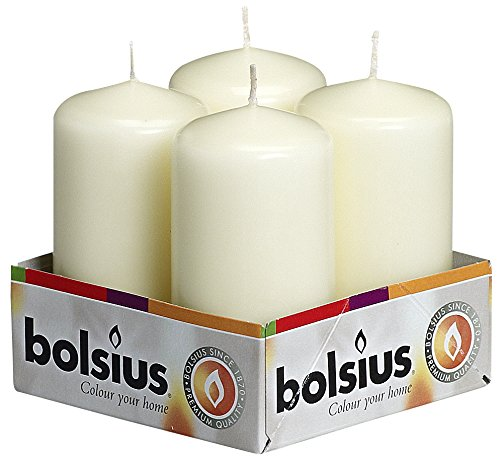 Bolsius 103613300905 Pillar Candle, Paraffin Wax, Ivory, Pack of 4