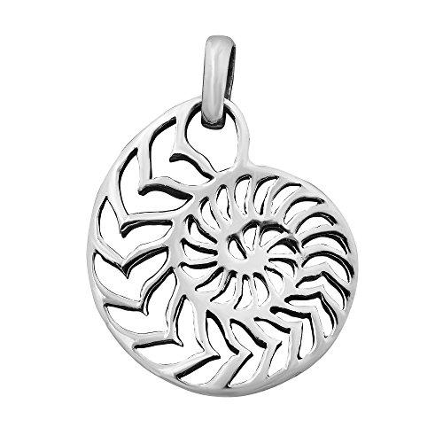 AeraVida Rare Sliced Nautilus Shell .925 Sterling Silver Pendant