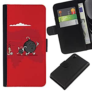 KLONGSHOP // Tirón de la caja Cartera de cuero con ranuras para tarjetas - Cute Funny Bomba & Son - Sony Xperia Z3 D6603 //