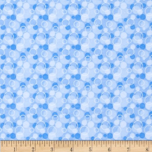 A.E. Nathan Flannel Tossed Bubbles Blue Fabric By The - Flannel Sewing Fabric