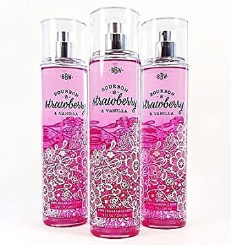 Bath Body Works Bourbon Strawberry Vanilla F ine Fragrance Mist 8oz Lot of X3