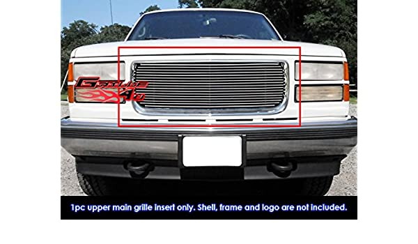 APS Compatible with 1994-1999 GMC Suburban Yukon /& 94-98 GMC C K Pickup with Stacked Lights Main Upper Stainless Steel Polished Chrome 8x6 Horizontal Billet Grille Insert G85012S