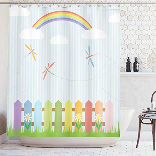 Ambesonne Country Decor Collection, Colorful Dragonflies Drifting over Fences on a Sunny Rainbow Day Kids Nursery Striped Theme, Polyester Fabric Bathroom Shower Curtain, 75 Inches Long, Multi (Kids Sunny Bathroom)