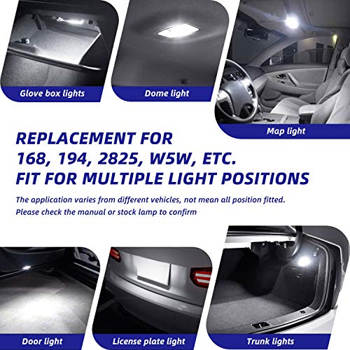 194 LED Bulb, AUTOONE Interior Car Lights 168 2825 W5W T10 Light Bulbs Error Free for Dome Map Parking Trunk Door Courtesy License Plate Lights, 6500K White, Pack of 2