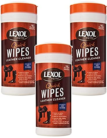 Lexol Leather Cleaner Quick Wipes - 75 Pre-Moistened Towels (3 Packs Containing 25 Each) - Lexol Ph Cleaner