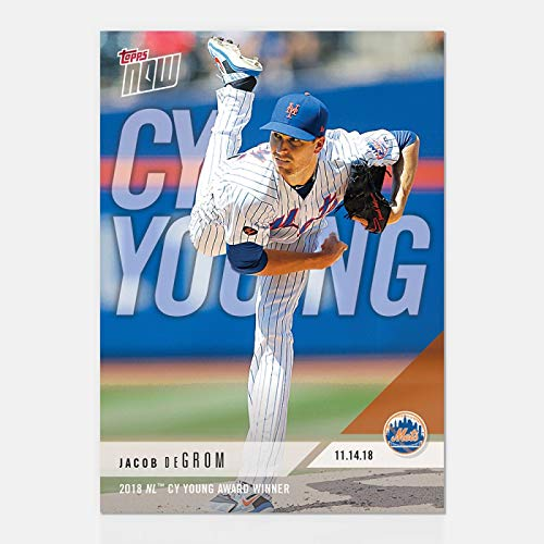 - JACOB DEGROM 2018 NL CY YOUNG AWARD WINNER TOPPS NOW NY METS BASEBALL CARD #AW-4 + TOPLOADER