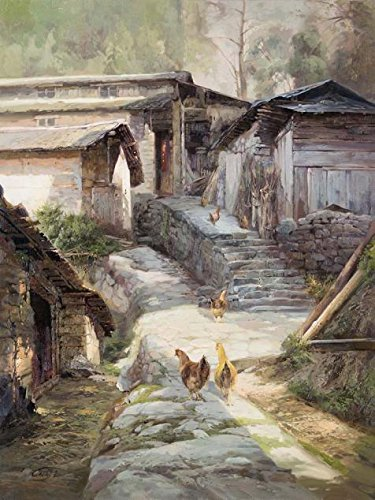 'Decorative Landscape Painting Of The Village' Oil Painting, 24x32 Inch / 61x81 Cm ,printed On High Quality Polyster Canvas ,this Replica Art DecorativePrints On Canvas Is Perfectly Suitalbe For Living Room Decoration And Home Artwork And Gifts