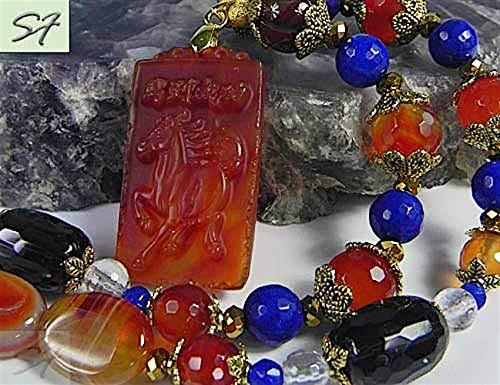 Pendant Agate Talisman - Necklace Pendant Choker carnelian rock crystal smoky quartz agate with engraving Necklace Talisman Horse