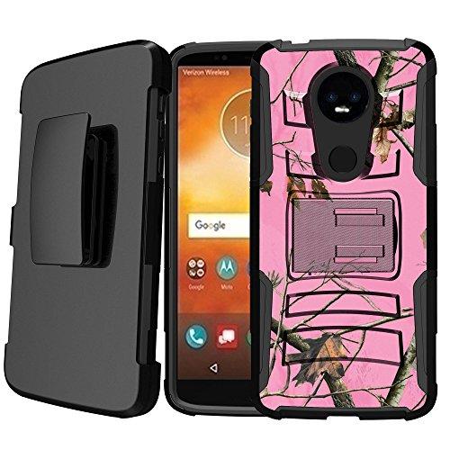 (Untouchble   Camo Case for Motorola Moto E5 Supra, Moto E5 Plus Holster Case [Heavy Duty Clip] Shockproof Dual Layer Future Armor Kickstand Case with Holster Belt - Pink Tree Camo)