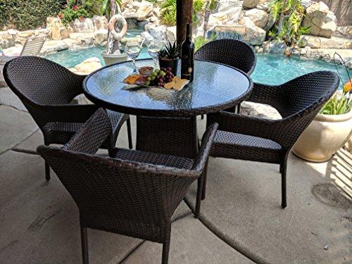 Outdoor Rattan joypanda outdoor rattan wicker 5pc patio dining set the community