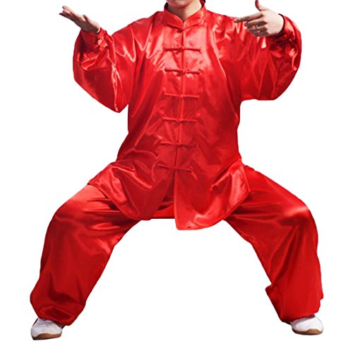 Andux Chinese Traditional Tai Chi Uniforms Kung Fu Clothing Unisex SS-TJF01 (Red, XXXL)