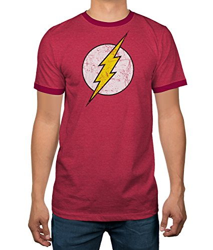 DC Comics Justice League Flash Logo Licensed Ringer Mens T-Shirt (XX-Large)