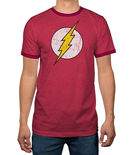 DC Comics Justice League Flash Logo Licensed Ringer Mens T-Shirt (X-Large)