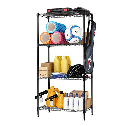 Hook Unit - LANGRIA 4 Tier Storage Organization Rack Metal Grid Wire Shelving Unit Open Cabinet Utility Organizer Closet for Kitchen with 5 Side Hooks and Adjustable Leveling Feet Supports 220 lbs. Weight (Black)