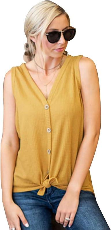 Huicai Botón de Mujer Chaleco con Cuello en v Camisa Sexy Fiesta en la Calle sin Mangas Camiseta Verano: Amazon.es: Ropa y accesorios