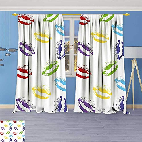 Design Print Thermal Insulated Blackout Curtain Up Cosmetics Theme Lipstick Colored Lips Kisses Sexy Seductive Feminine Art Multicolor for Living Room