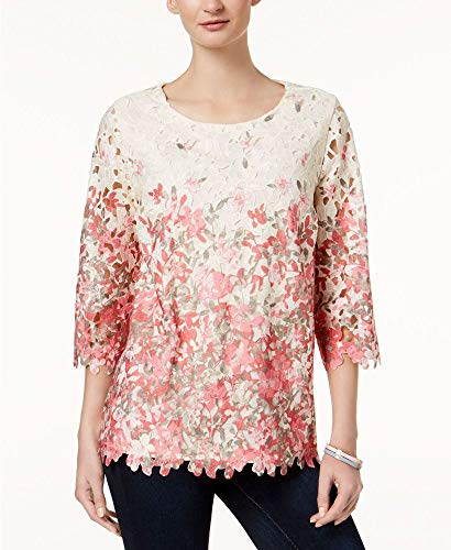 Charter Club Printed Lace-Overlay Top (Vintage Cream Combo, M) from Charter Club