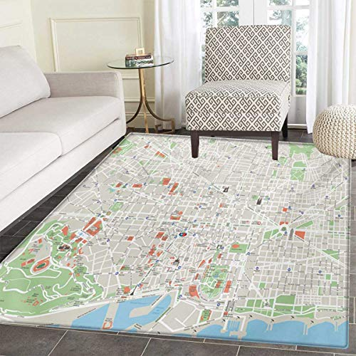 - Map Bath Mat Non Slip Map Barcelona City Streets Parks Subdistricts Points Interests Customize Door mats Home Mat 30