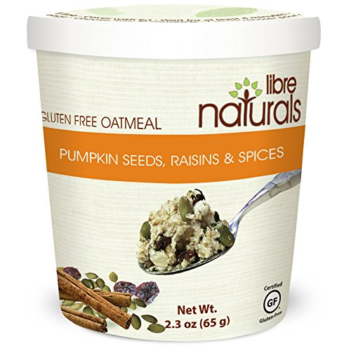 Nut Free, Gluten Free >>Pumpkin Seeds, Raisins and Spices Oatmeal Cup - Libre Naturals, 65 gram/2.3 oz x 12 cup pack by Libre Naturals