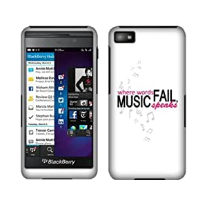 Fincibo (TM) Protector Cover Case Snap On Hard Plastic Front And Back For BlackBerry Z10 AT&T - Grey Pink Where Words Fail Music Speaks