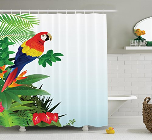 - Parrots Decor Shower Curtain by Ambesonne, Macaw Bird in the Tropical Forest Flowers Big Leaves Plants Wildlife Vibrant Color Art, Polyester Fabric Bathroom Set with Hooks, 75 Inches Long, Multicolor