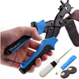 Skilled Crafter Leather Hole Punch. Easily Punches Perfect Round Holes. FREE XL Plates & De-Compacter Tool. Professional Best Puncher for Belt, Saddle, Watch Strap, Shoe, Fabric, Paper etc +2 Yr Wrnty