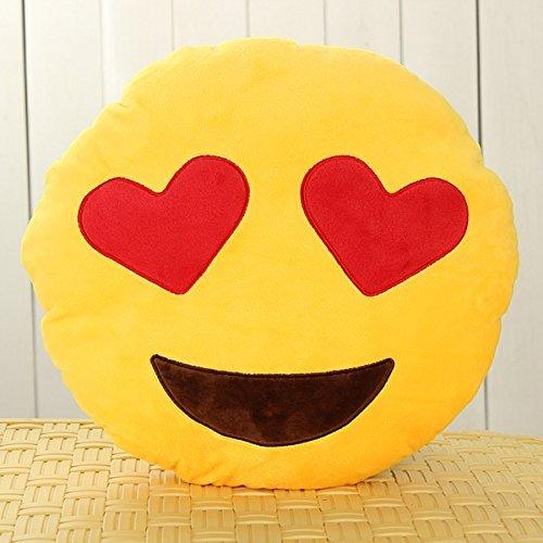 Bordered Hearts (OliaDesign Heart-Eye Emoji Round Smiley Emoticon Cushion Pillow Stuffed Plush Soft Toy, Yellow)
