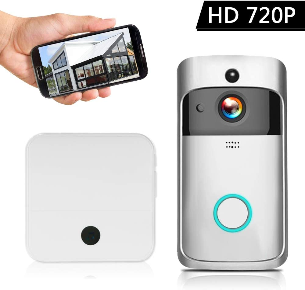 Extaum Video Intercom WI-FI Smart HD 720P Videoportero inalámbrico Teléfono Timbre Visual WiFi Timbre Cámara para Apartamentos Alarma IR Cámara de Seguridad inalámbrica con Campanilla Plateada