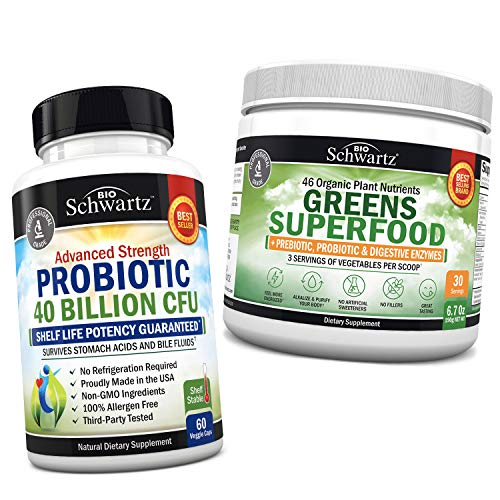 Probiotic 40 Billion CFU + Super Greens Powder with 3 Servings of Veggies per Scoop – Promotes Healthy Digestion & Intestinal Support- Immune System Defense