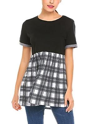 SE MIU Women Empire Waist Crew Neck Short Sleeve Plaid Patchwork Casual Shirt Blouse Tops