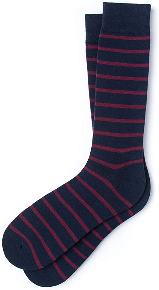 "Comfort Carded Cotton 1 Pair /""Virtuoso Stripe Series/"" Men/'s Classic Striped Dress Crew Socks"