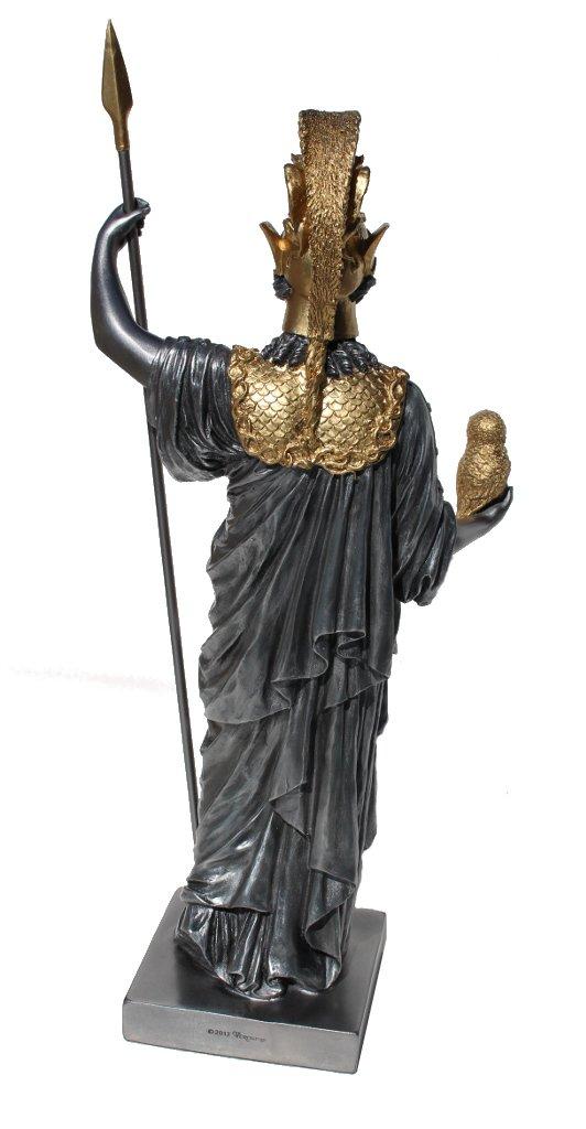 14.25 Inch Athena Goddess of Wisdom and War Figurine Silver Color