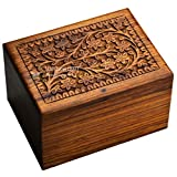 STAR INDIA CRAFT Wooden Tree of Life Urn for Human Ashes, Rosewood Cremation Urn, Handmade Wood Urn Box for Ashes - Burial Pet urn for Dogs Ashes, Keepsake Box, Dog Urn,Cat Urn (Brown, XS - 15 Cu/in)