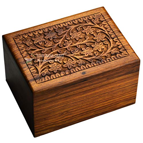 STAR INDIA CRAFT Wooden Tree of Life Urn for Human Ashes, Rosewood Cremation Urn, Handmade Wood Urn Box for Ashes - Burial Pet urn for Dogs Ashes, Keepsake Box, Dog Urn,Cat Urn (Brown, L - 400 Cu/in) ()