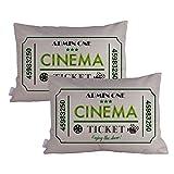 Queenie® - 2 Pcs Movie & Music Theme Decorative Pillow Cases Throw Cushion Covers 35 cm x 50 cm 14 x 20 Inch (Movie Ticket Green)