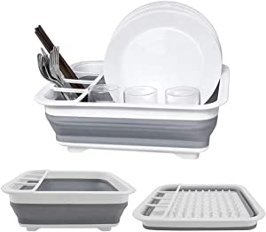 Collapsible Drying Rack Dishes Dinnerware Basket Plates Drainer Collapse Kitchen Drainage Rack Pop up Dish Rack Portable Dish Drainers for Kitchen Counter RV Campers