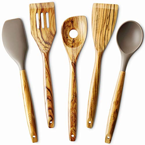 5 Piece Olive Wood Kitchen Cooking Utensils, Slotted Turner, Flat Turner, Corner Spoon, Silicoen Spoon and Spatula