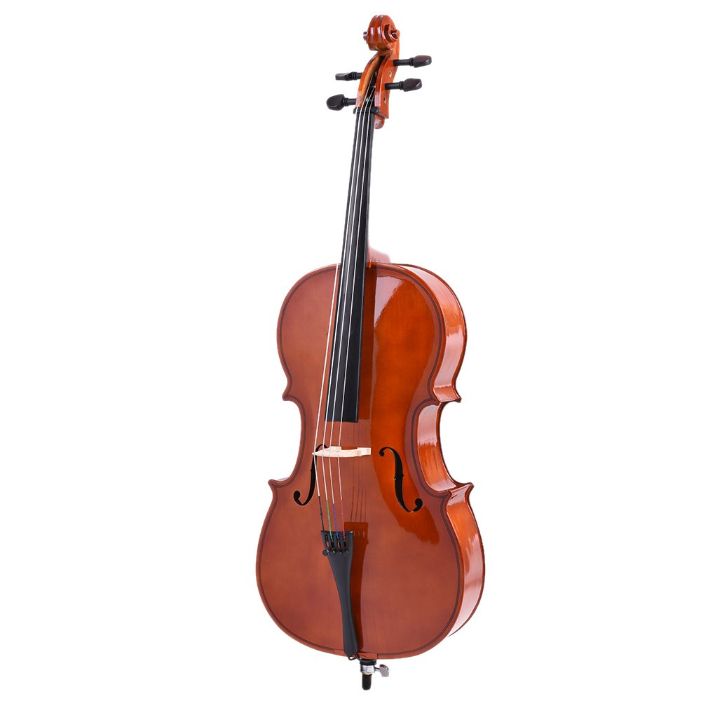 ammoon 1/2 Wooden Cello Gloss Finish Basswood Face Board with Bow Rosin Carrying Bag for Students Music Lovers