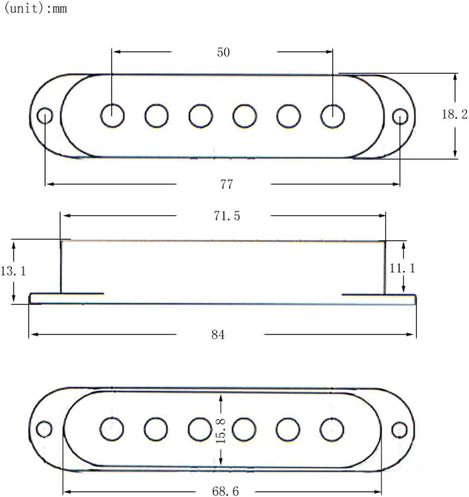 48mm 3x Cubierta Cubre para Pastillas de Una Sola Bobina SSS para ST SQ Guitarra El/éctrica