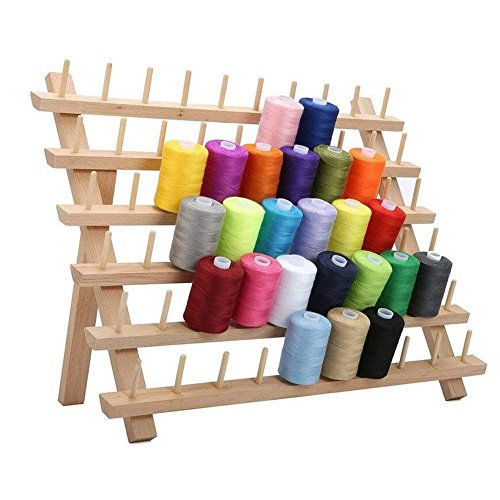 Foldable Thread Rack Wood Thread Holder 60 Spool Thread Wooden Storage Rack Thread Spool Stand Sewing Cone Storage Organiser, Sewing Quilting Embroidery Bobbin Orgainzer & Rack, Sewing Craft Tools by WElinks
