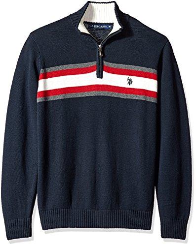 U.S. Polo Assn. Mens Tri-Color Chest Stripe 1/4 Zip Sweater