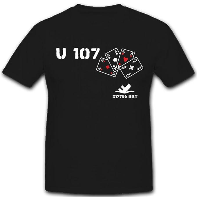 15fcc7563 Militare U107 Marine U Boot 107 sottomarino 217786 BRT WH WK - T-Shirt  2195   Amazon.it  Abbigliamento