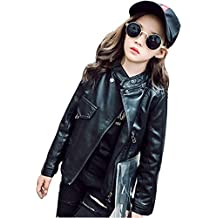 Kintaz Boys Girls Spring Motorcycle Faux Leather Jackets with Oblique Zipper (6T, Black)