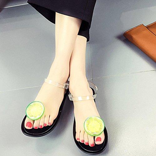 Deesee (tm) Mujeres Chanclas De Frutas Sandalias Zapatos Niñas Plate Flip Flop Sandalias De Playa Lemon Black