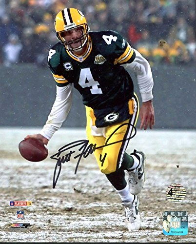 Autographed Snow - Signed Brett Favre Photo - 8X10 Snow Flip w Holo & COA - Autographed NFL Photos