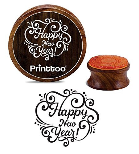 Printtoo Scrap-Booking Wooden Rubber Stamp Round Happy New Year Craft Textile Stamps-2 Inch