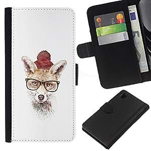 KLONGSHOP // Tirón de la caja Cartera de cuero con ranuras para tarjetas - Hipster Fox lindo - Sony Xperia Z1 L39 //